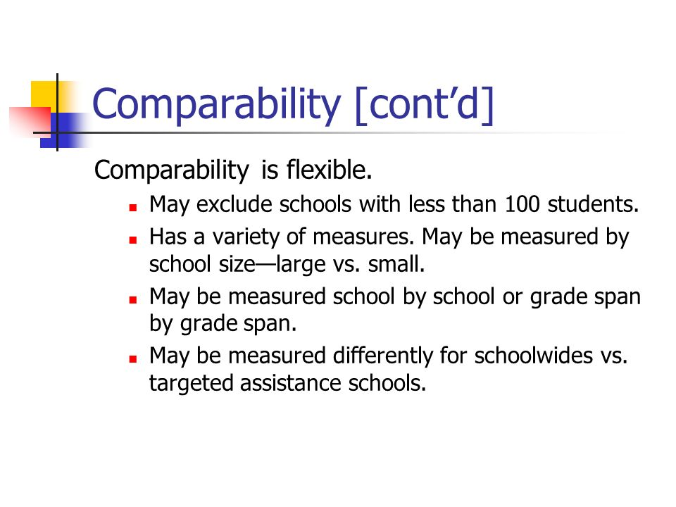 Comparability [cont'd]